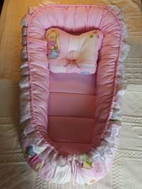 Гнездышки для новорожденного Зайчики на розовом + горошки на розовом, кружева.
